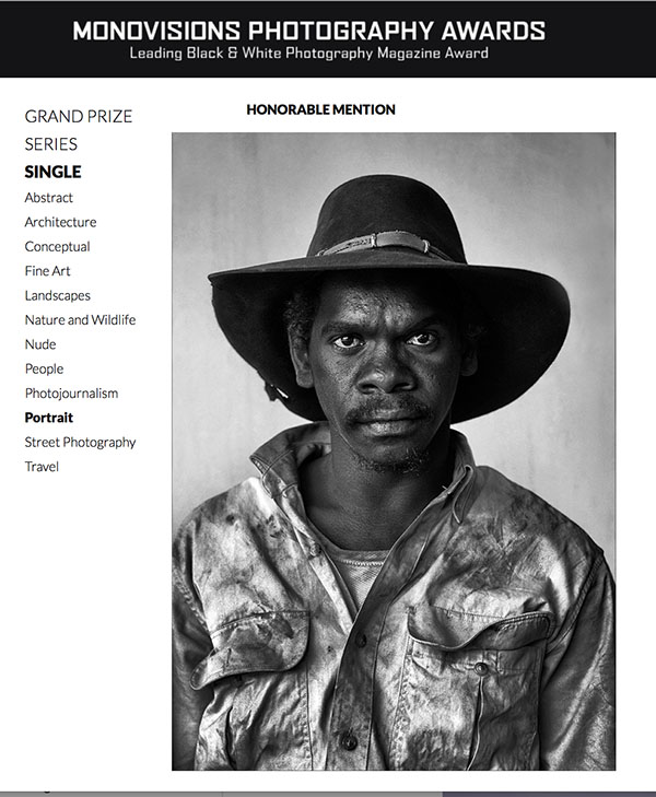 "2017 Monovisions B&W Photography Awards - Portrait - ""Aak Puul Ngnatam Stockman - Dominic"" - by Brian Cassey"