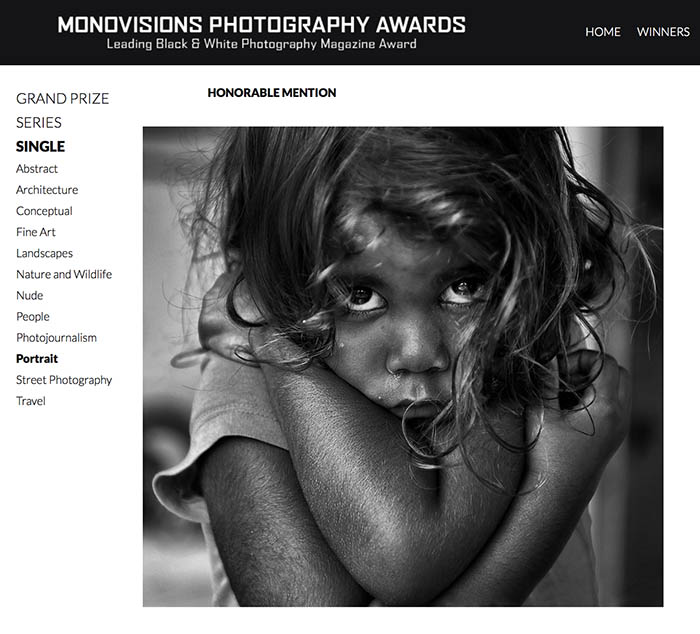 "2017 Monovisions B&W Photography Awards - Portrait - ""Mowisha from Jumbun"" - by Brian Cassey"